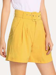 Slant Pocket Belted Pleated Shorts