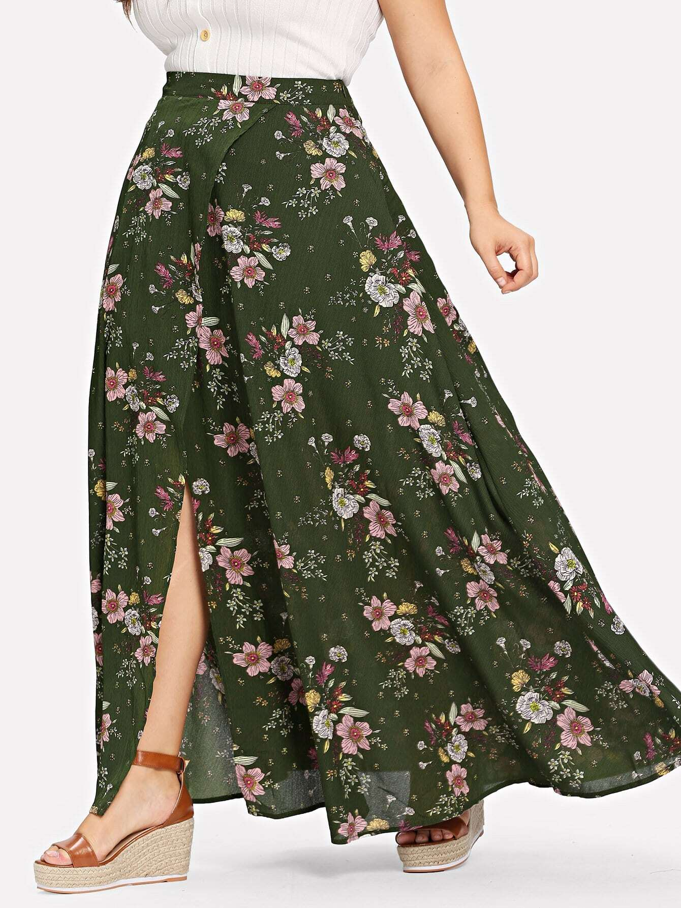 все цены на Plus Boxed Pleat Floral Skirt