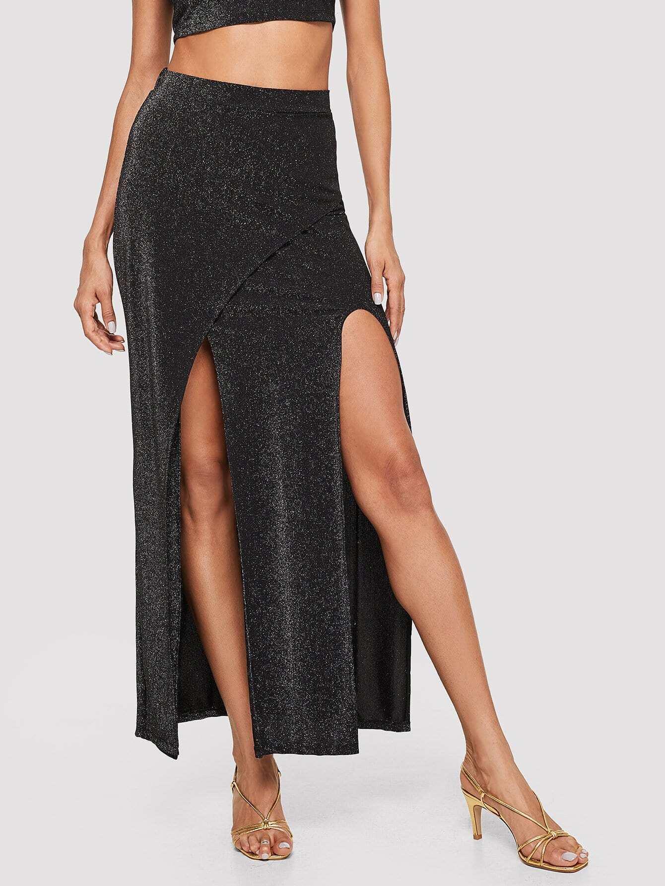 Slit Front Glitter Skirt front