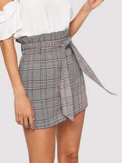 Belted Frilled Waist Plaid Skirt