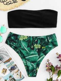 Bandeau With Tropical Print High Leg Bikini Set