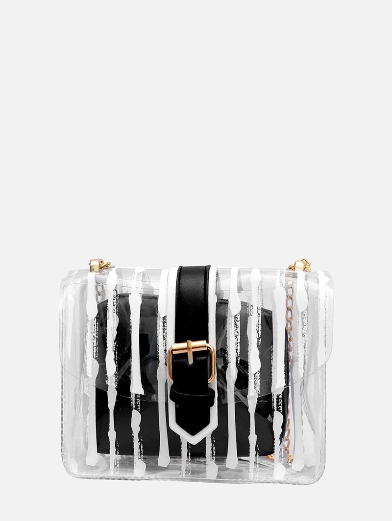 Buckle Decor Chain Bag With Inner Pouch, Black and white