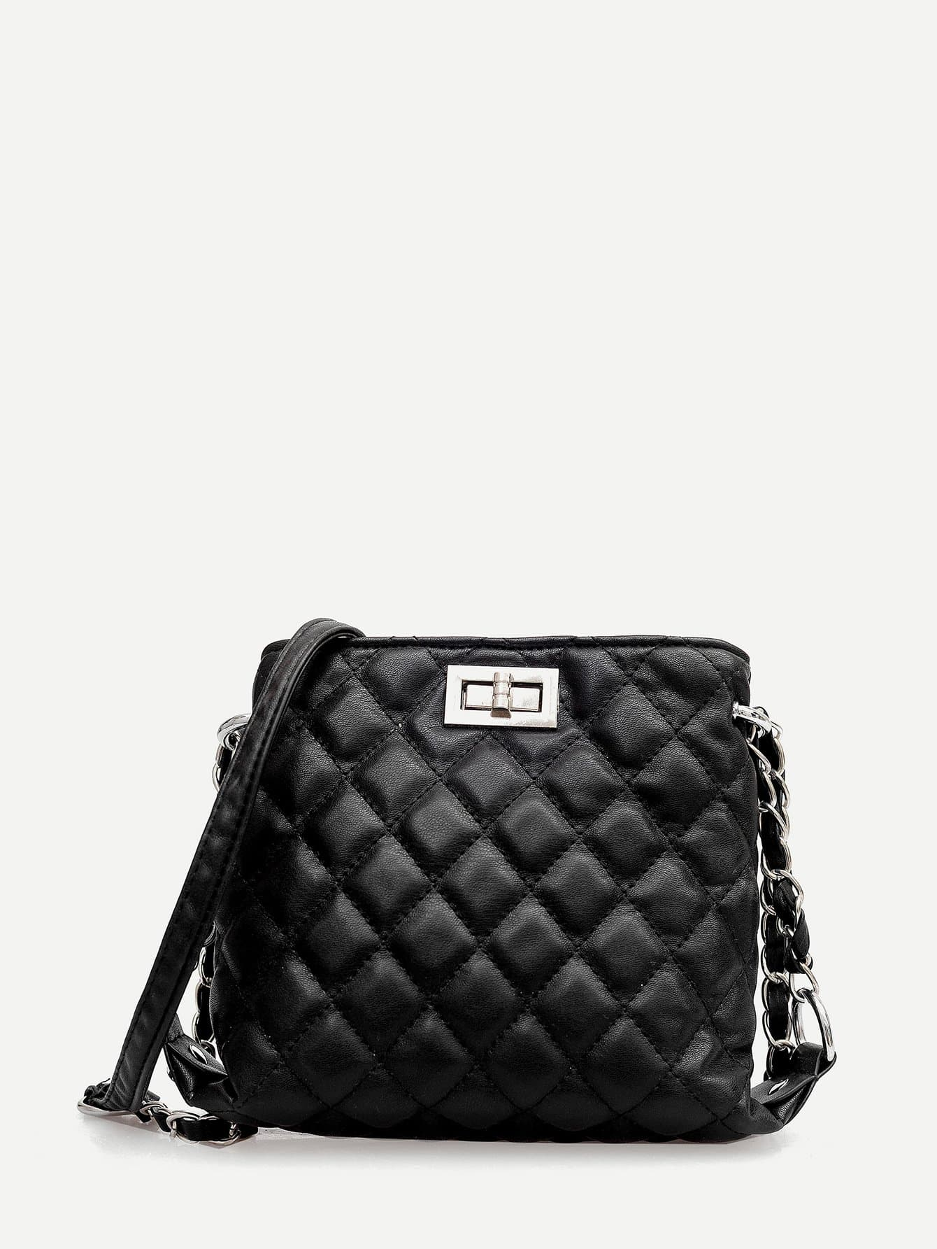 Quilted Detail Twist Lock Chain Bag metal lock quilted chain bag