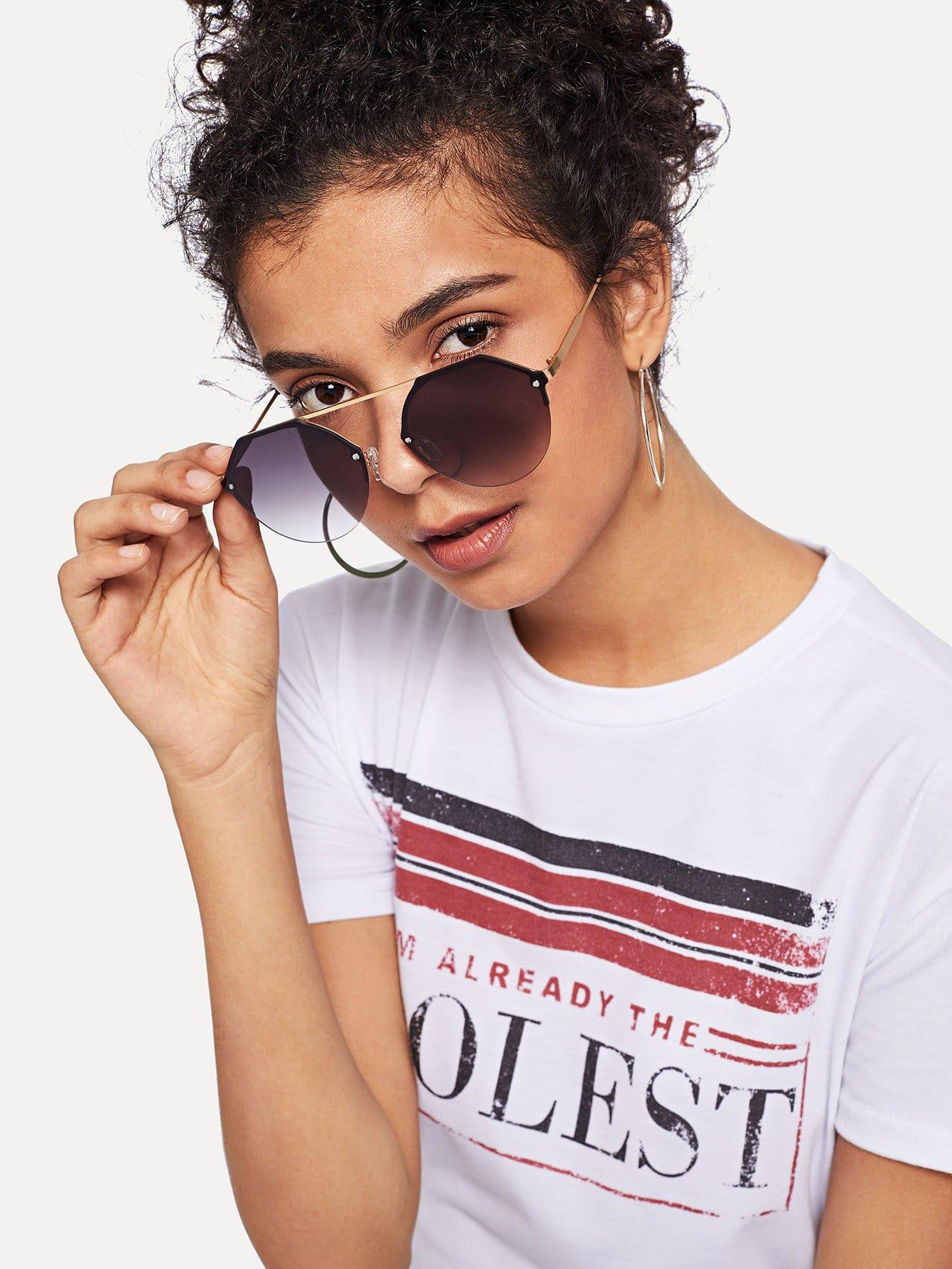 Купить Солнцезащитные очки с металлической рамкой, null, SheIn