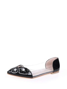 Pointed Toe Jewelled Decor Flats