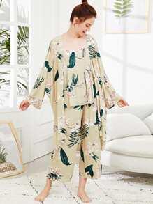 Flower Print Cami Pajama Set With Robe