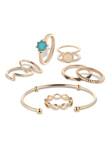 Layered Detail Ring Set 7pcs & Bracelet 1pc