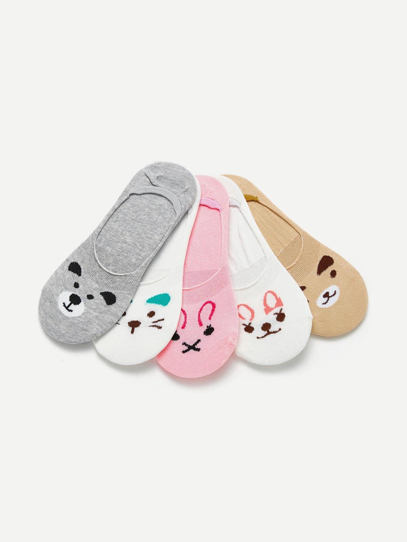 Animal Print Invisible Socks 5pairs animal embroidery invisible socks 3pairs