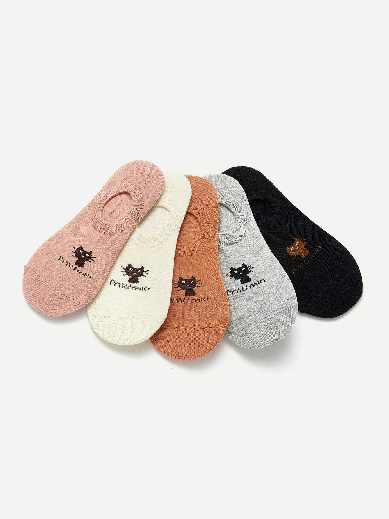 Cat Pattern Invisible Socks 5pairs