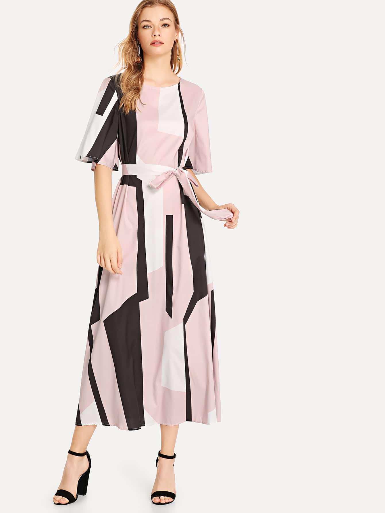 Платье с наручным рукавом Colorblock Self Belted Dress