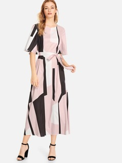 Flutter Sleeve Colorblock Self Belted Dress