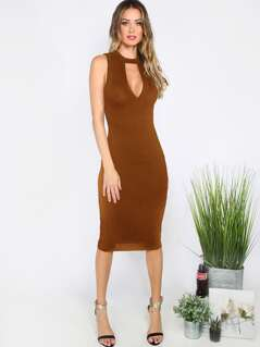 Cutout Choker Neck Pencil Dress