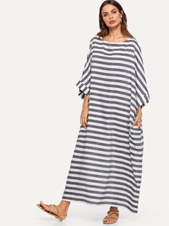 Rolled Up Sleeve Pocket Side Striped Oversized Dress