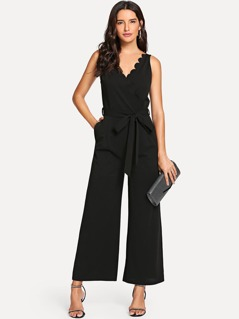 Scallop Edge Open Back Belted Palazzo Jumpsuit