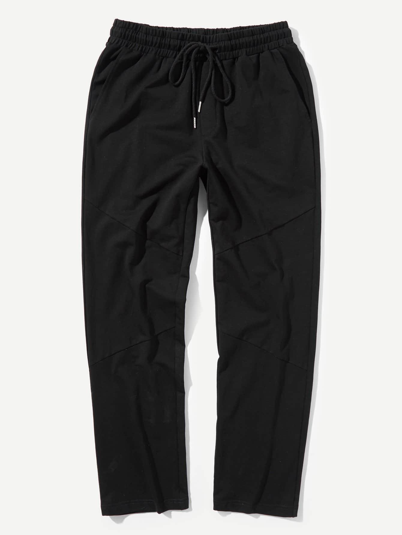 Мужчины Drawstring Талия Slant Карманные брюки