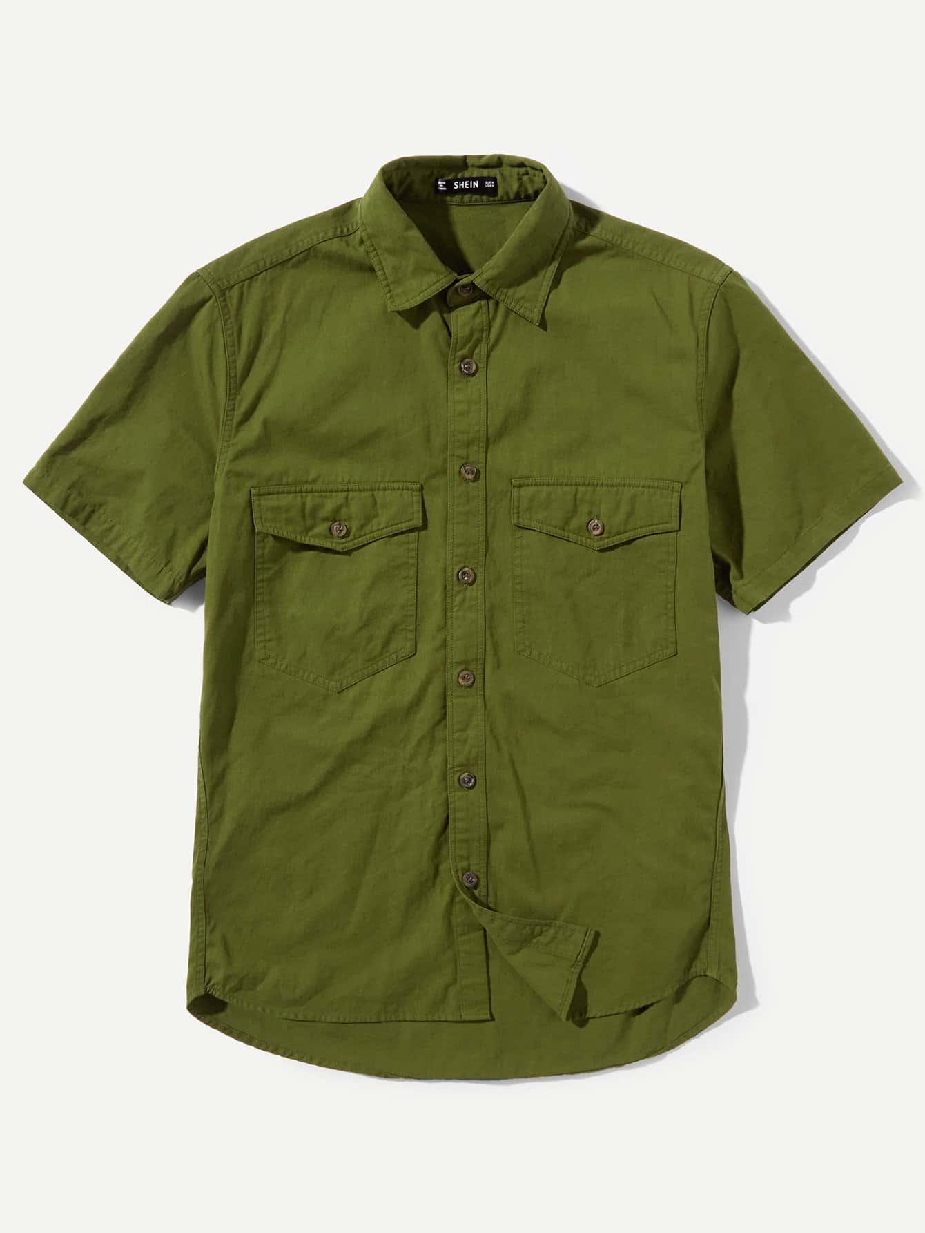 Купить Мужская Карманная Фронтовая Изогнутая Рубашка, null, SheIn