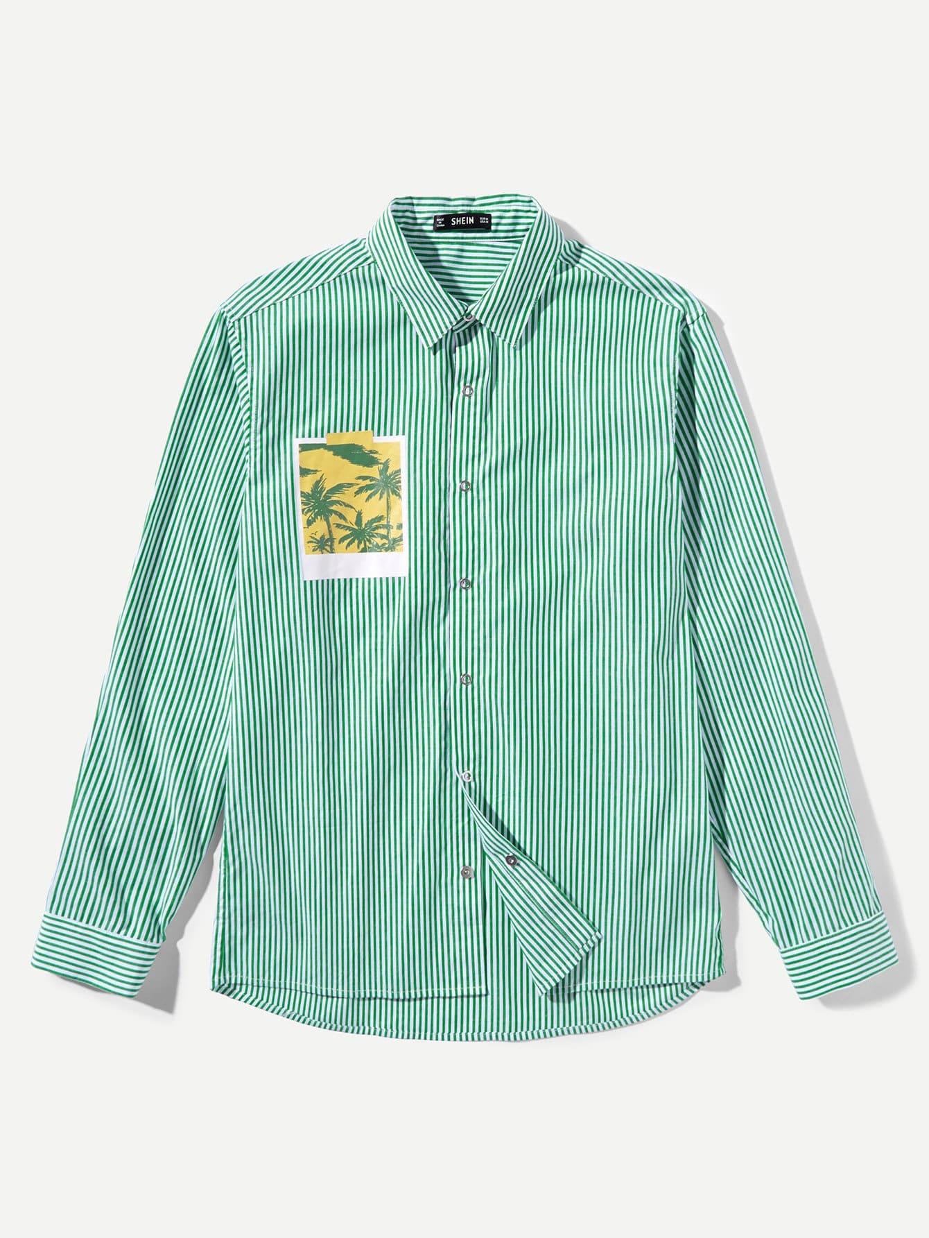 Купить Мужская графическая патч-полосатая рубашка, null, SheIn