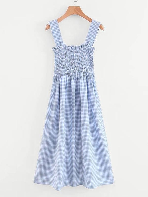 Frill Trim Shirred Gingham Dress gingham frill trim pants