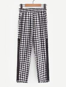 Contrast Mesh Gingham Pants