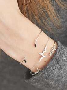 Letter Detail Bracelet Set 3pcs