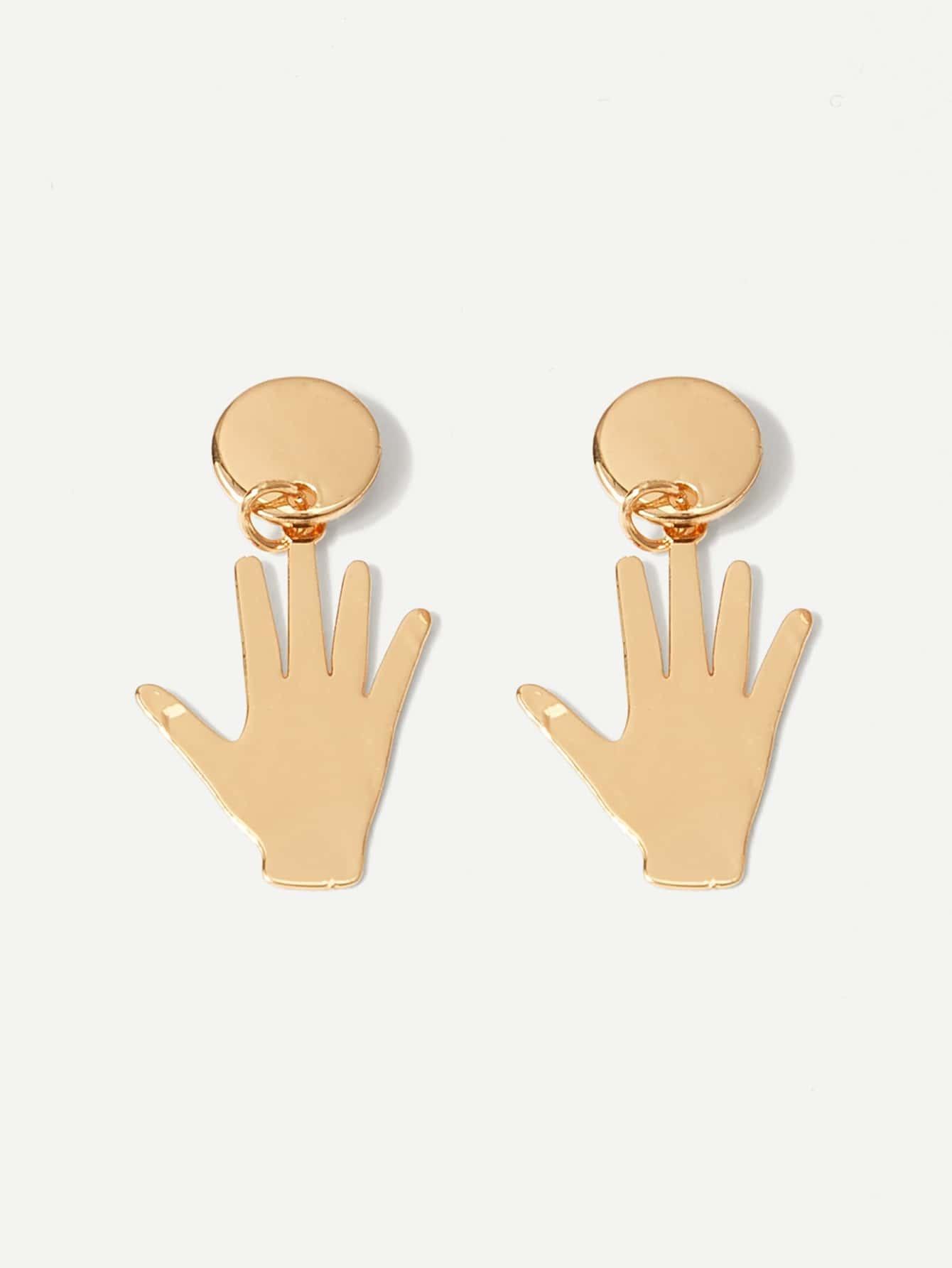 Metal Hand Shaped Drop Earrings