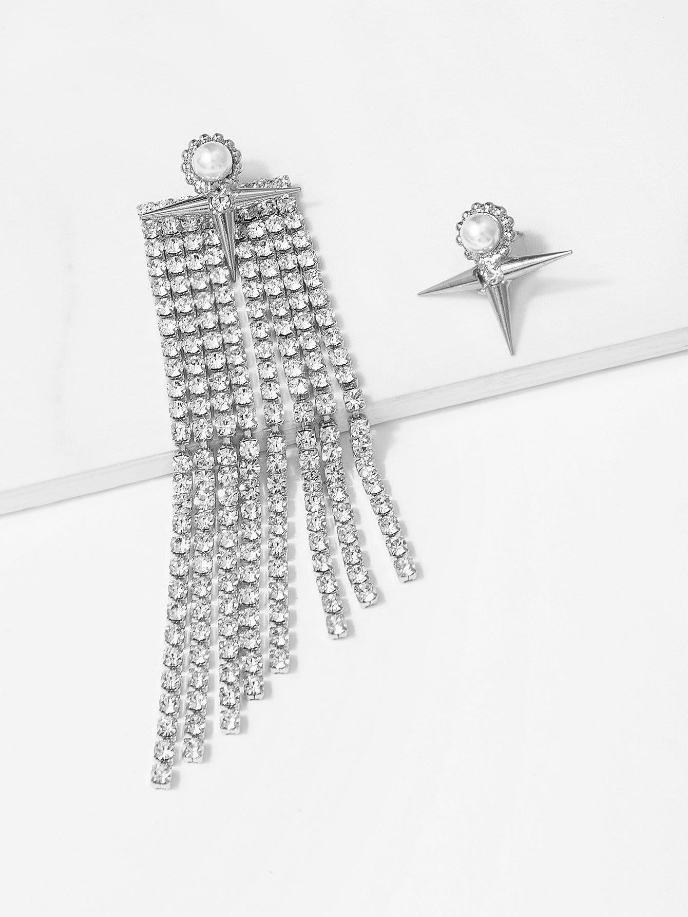 Купить Асимметричные серьги с подвеской бриллианта и кисти, null, SheIn