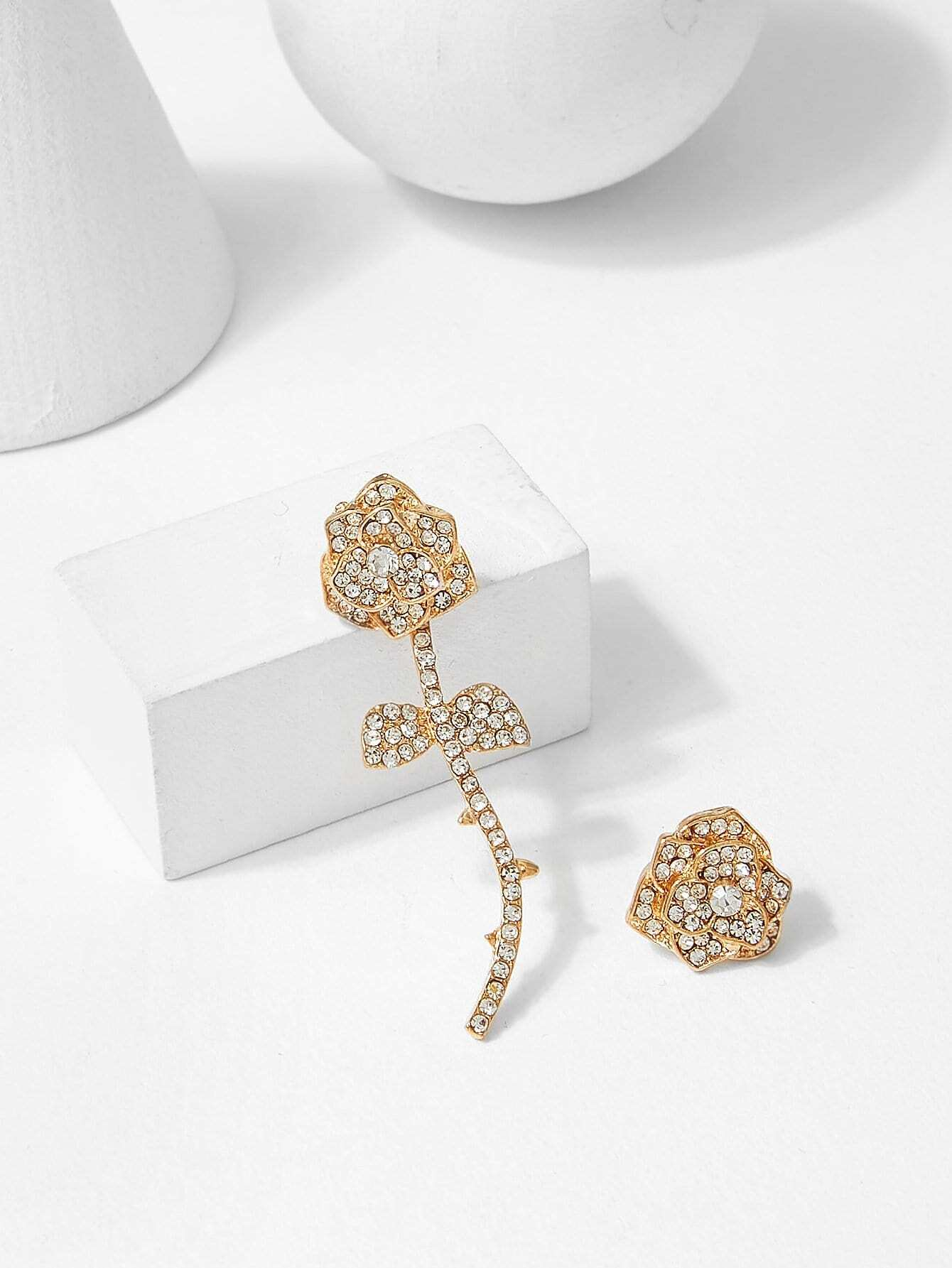 Rose Shaped Mismatched Stud Earrings