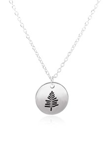 Tree Engraved Round Pendant Necklace