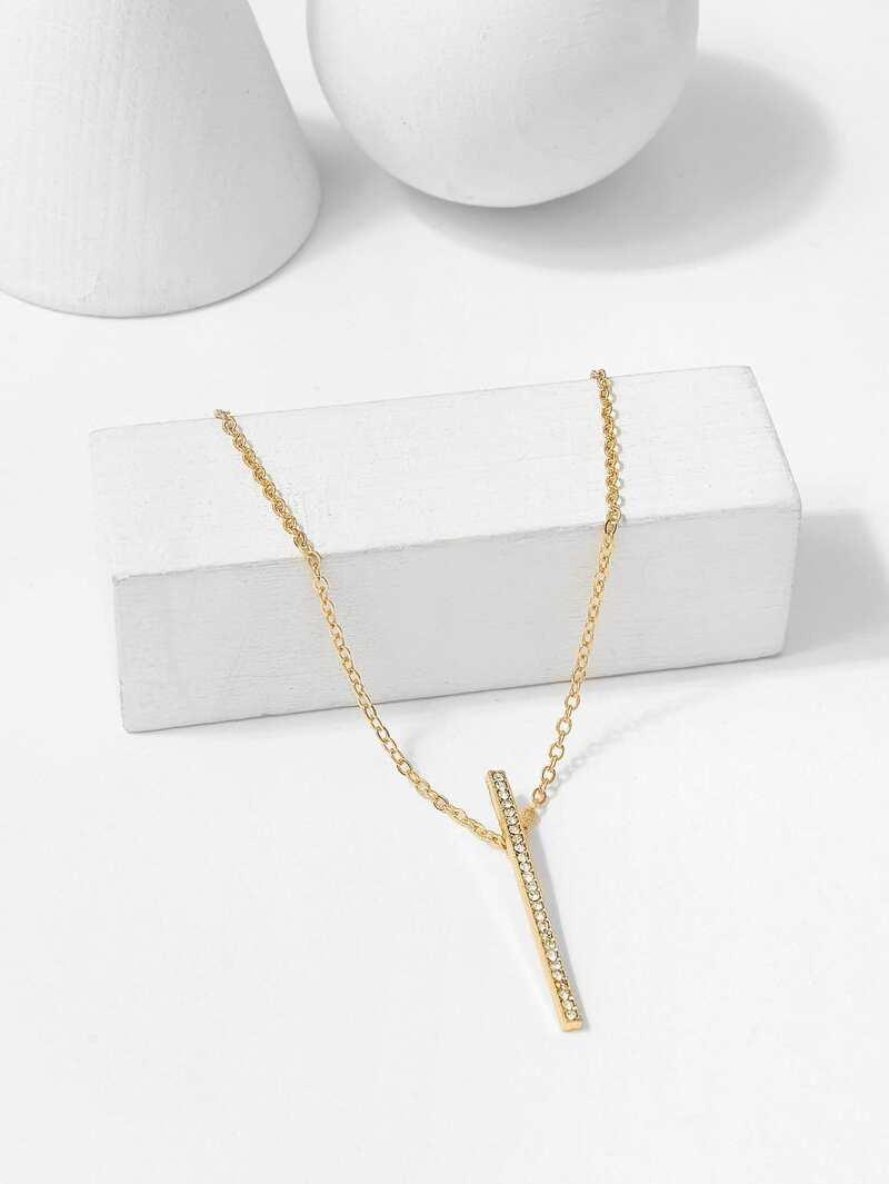 Rhinestone Bar Pendant Chain Necklace, Gold