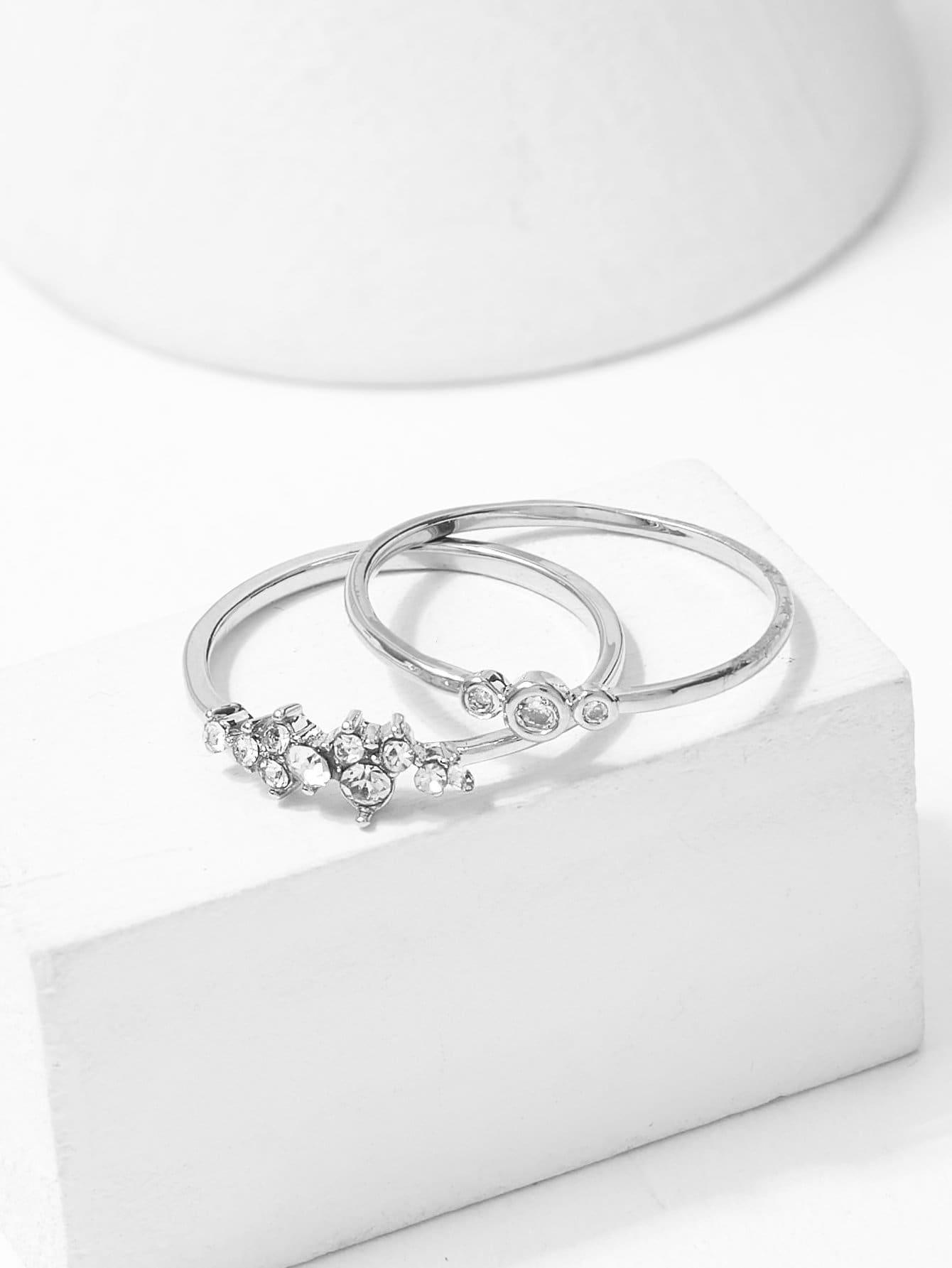 Rhinestone Decorated Ring Set 2pcs