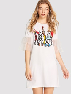 Mesh Trim Figure Print Dress