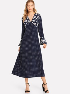 Bell Cuff Floral & Polka Dot Dress