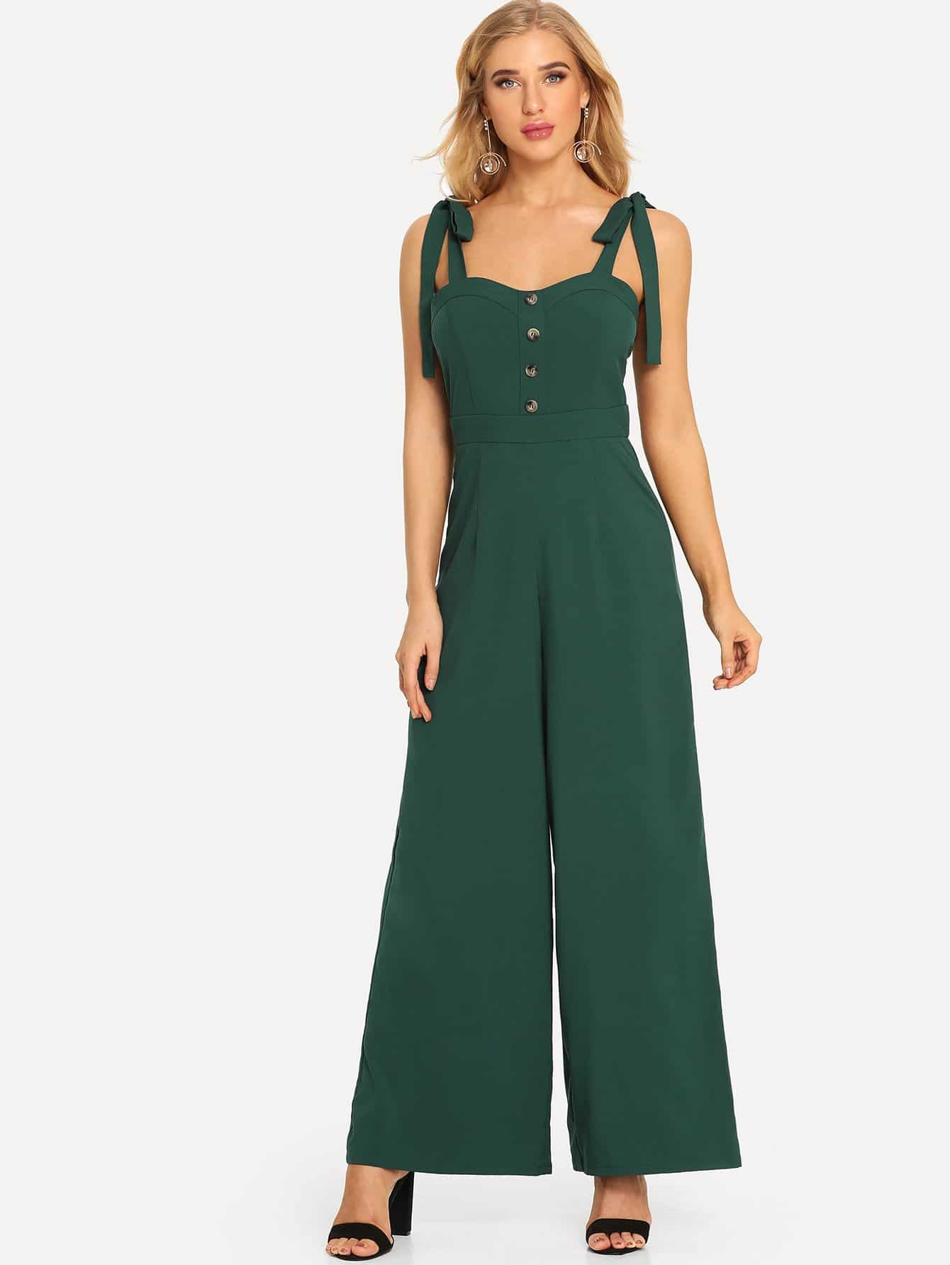Tied Shoulder Button Front Wide Leg Jumpsuit бижутерия в подарок