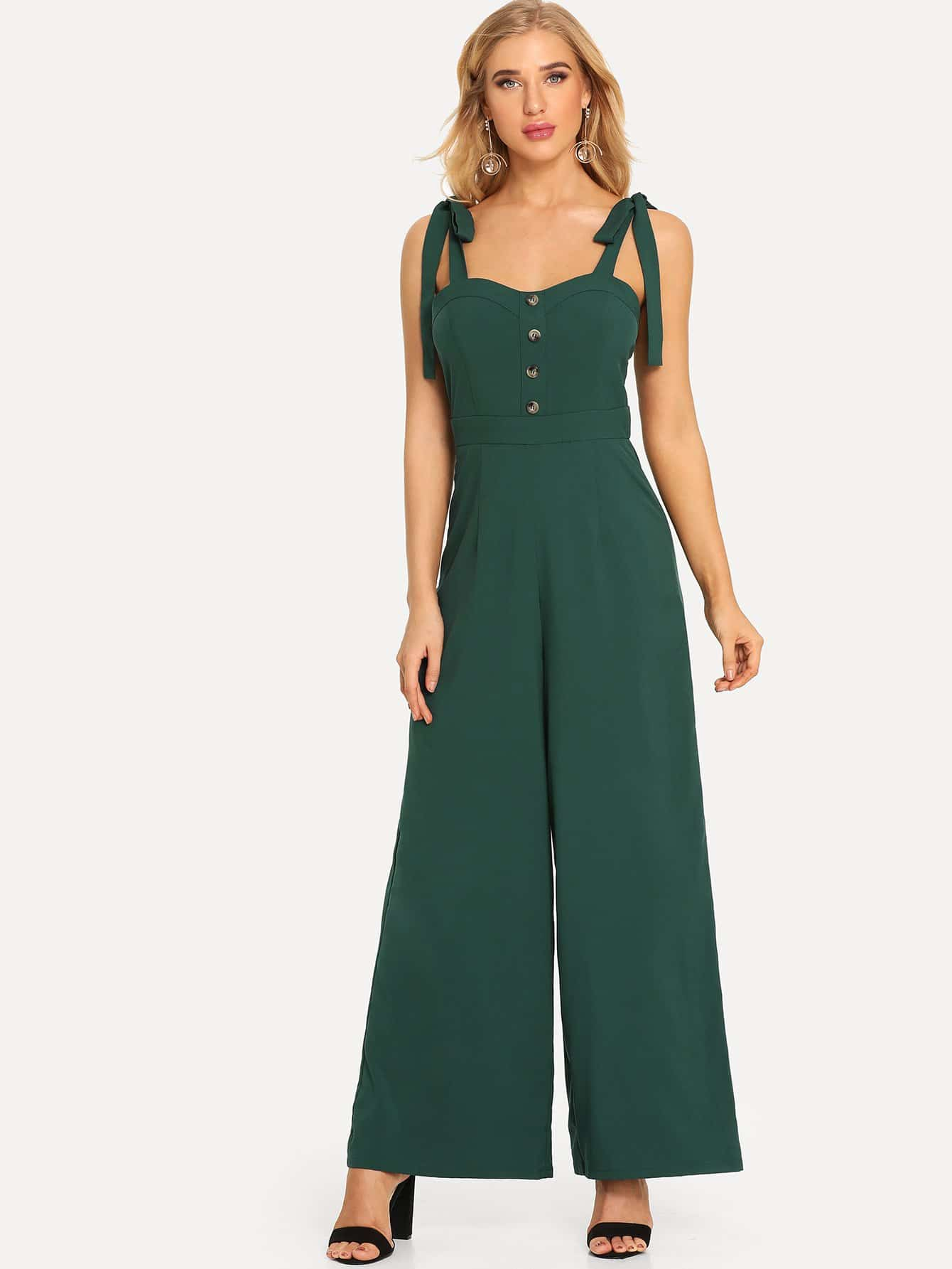 Tied Shoulder Button Front Wide Leg Jumpsuit