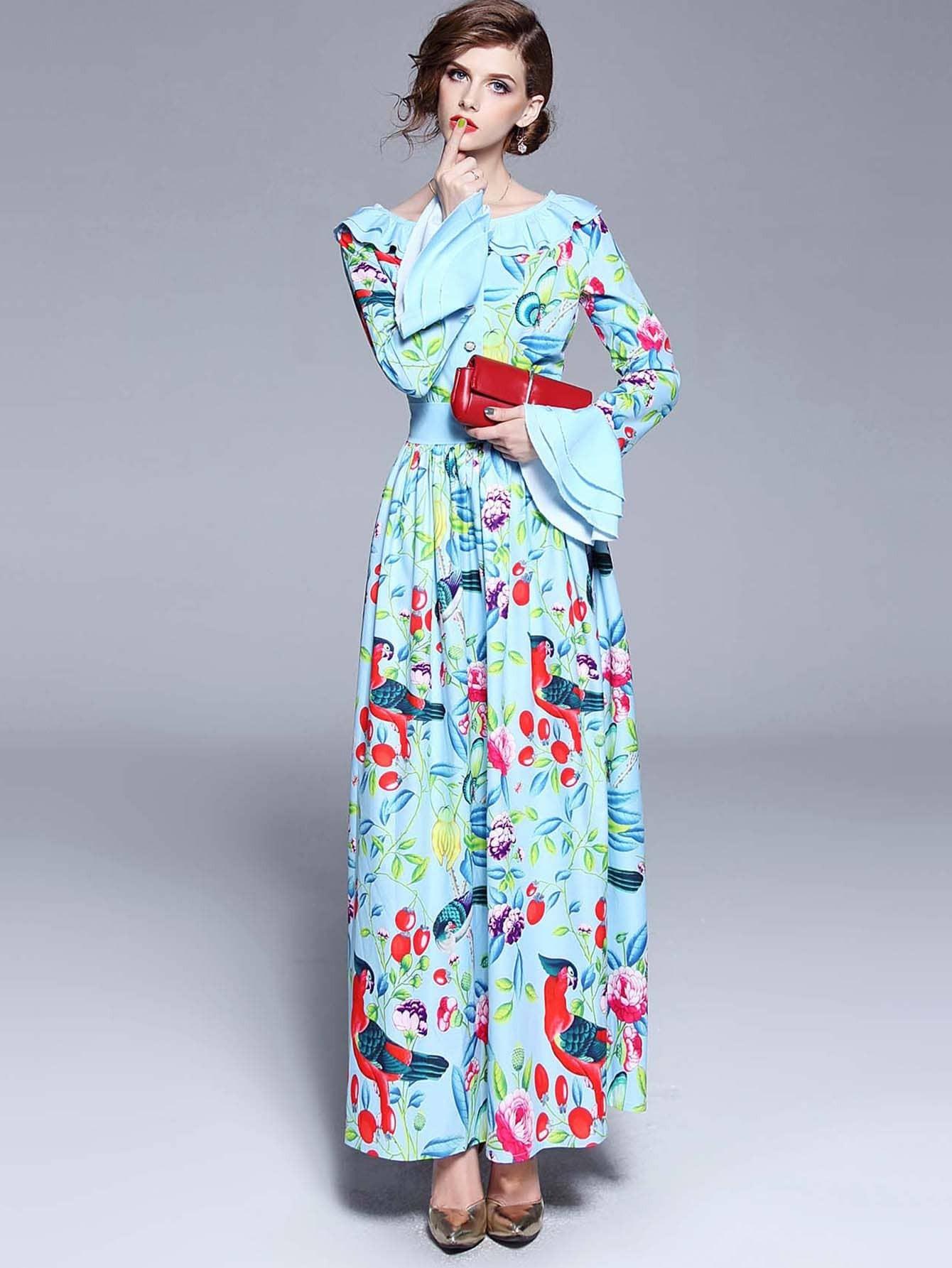 Купить Платье с рисунками живописи и с рукавами клеш, null, SheIn