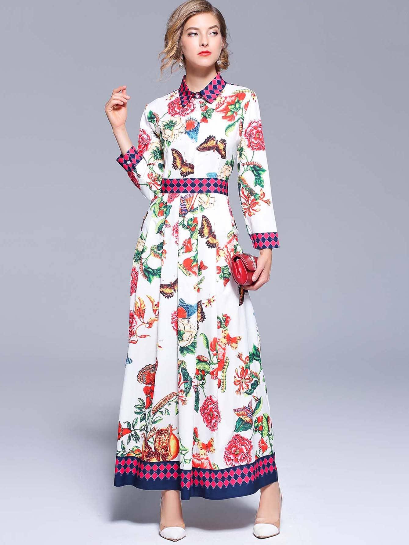 Купить Длинное платье с рисунками цветов, null, SheIn