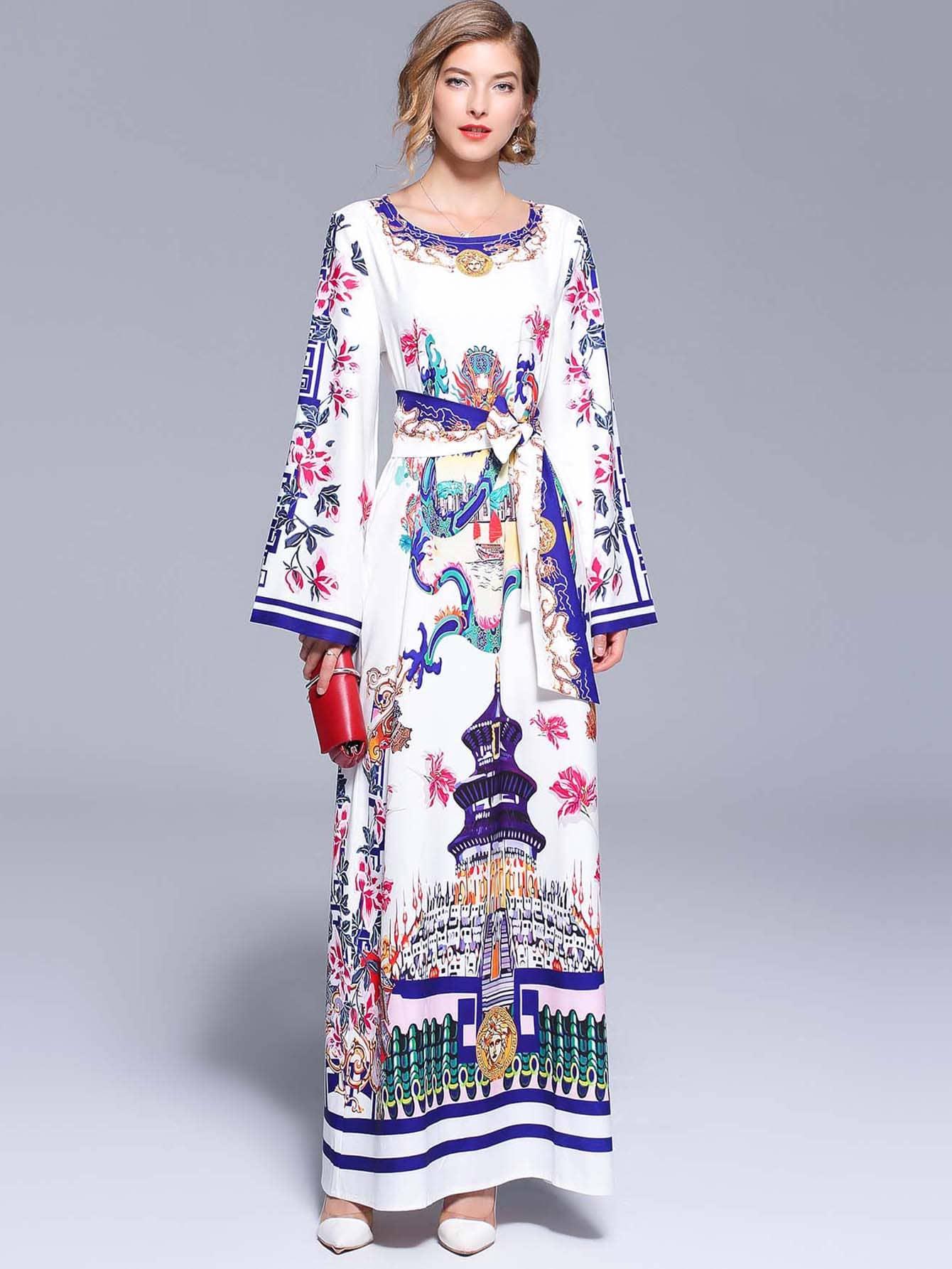Купить Длинное платье с рисунками живописи и с поясом, null, SheIn
