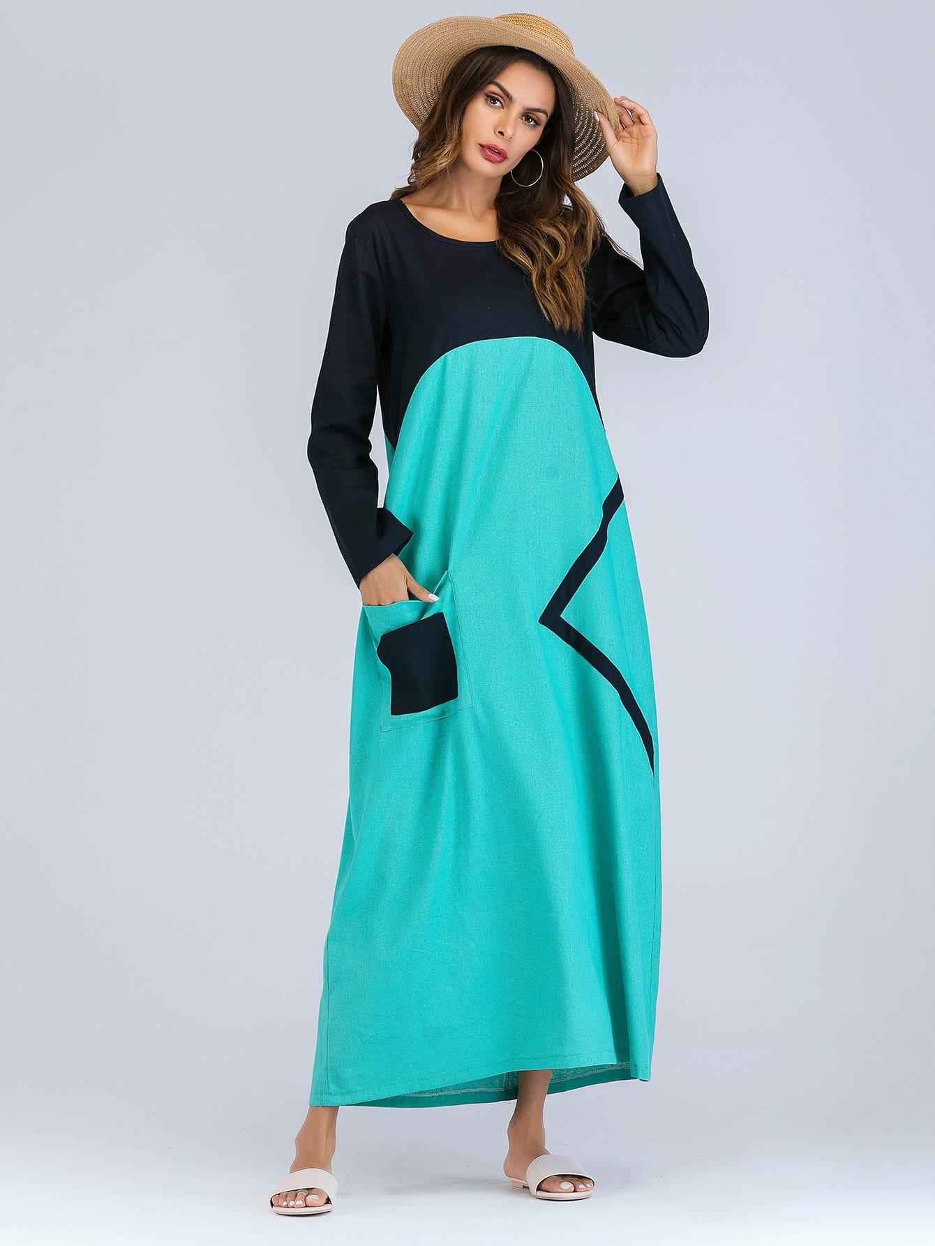 Купить Длинное платье из нескольких цветов и с украшением пуговицы, null, SheIn