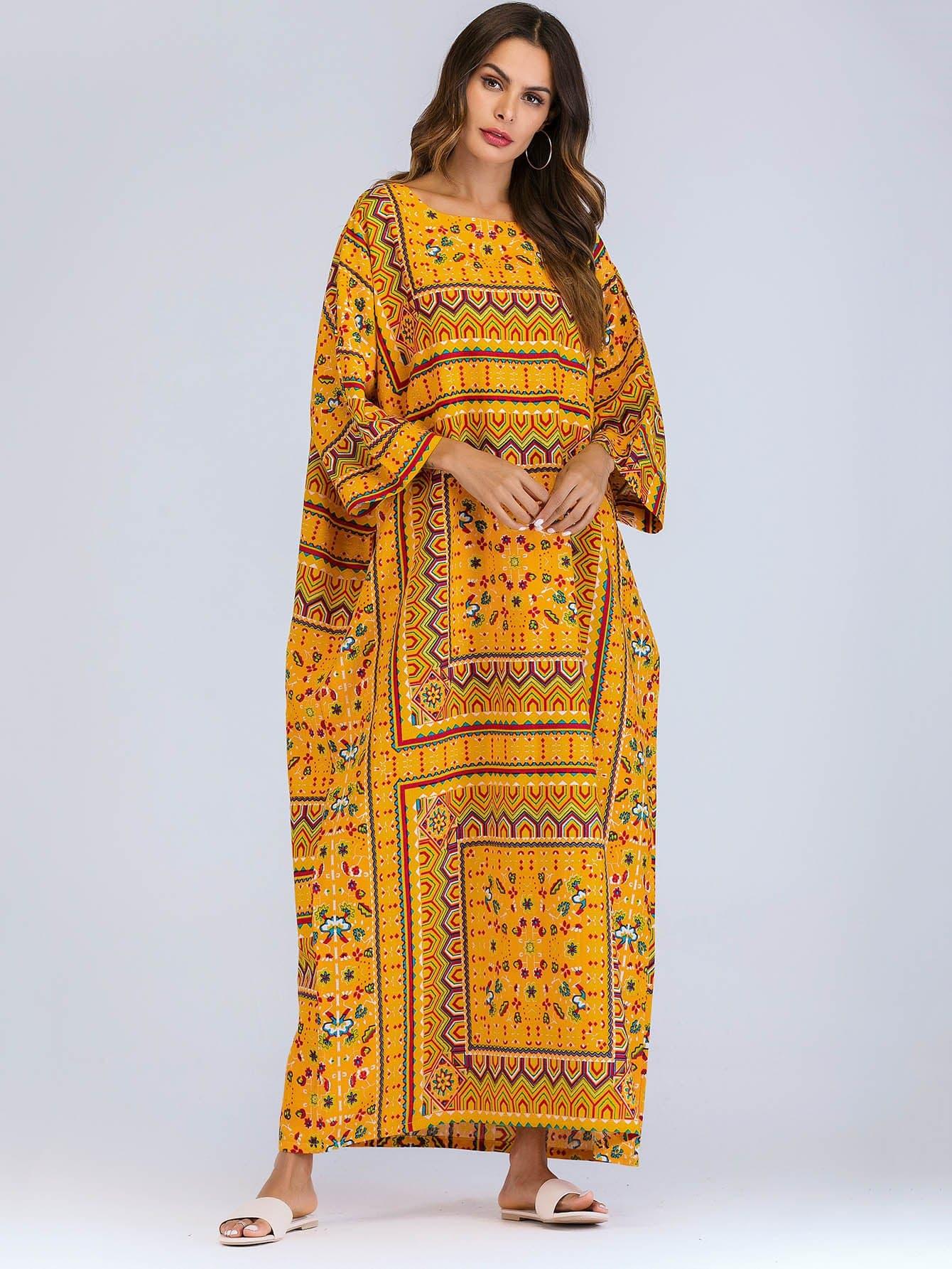 Купить Ситцевое длинное платье с рукавами кожана, null, SheIn