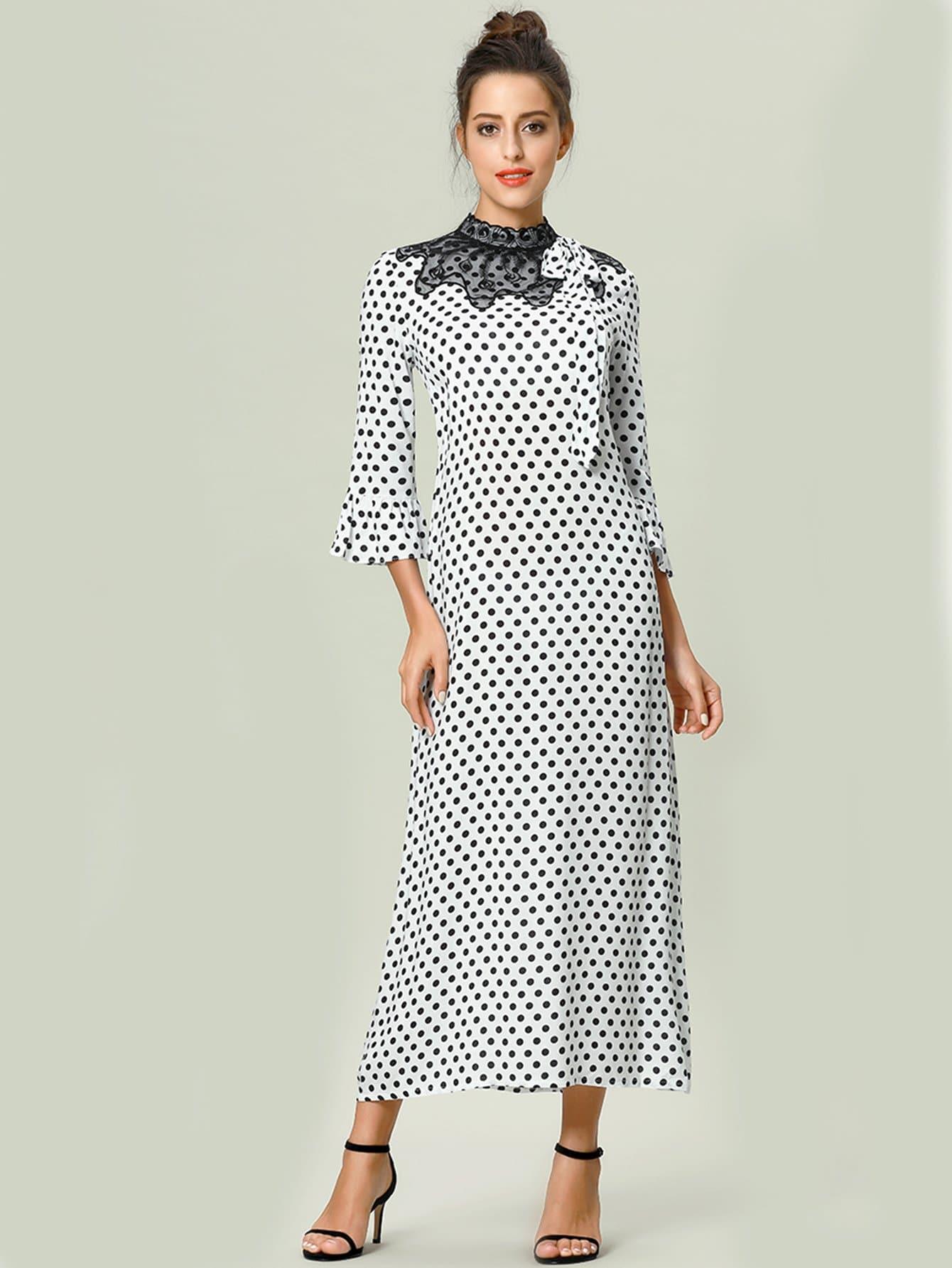 Купить Симметрическое кружевное платье с рисунками точк и с рукавами клеш, null, SheIn
