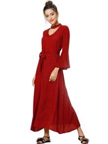 Plaid Belt Bell Sleeve Dress
