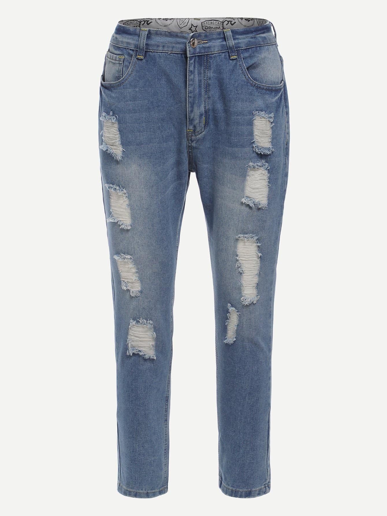 Men Ripped Skinny Jeans summer boyfriend jeans for women hole ripped white lace flowers denim pants low waist mujer vintage skinny stretch jeans female