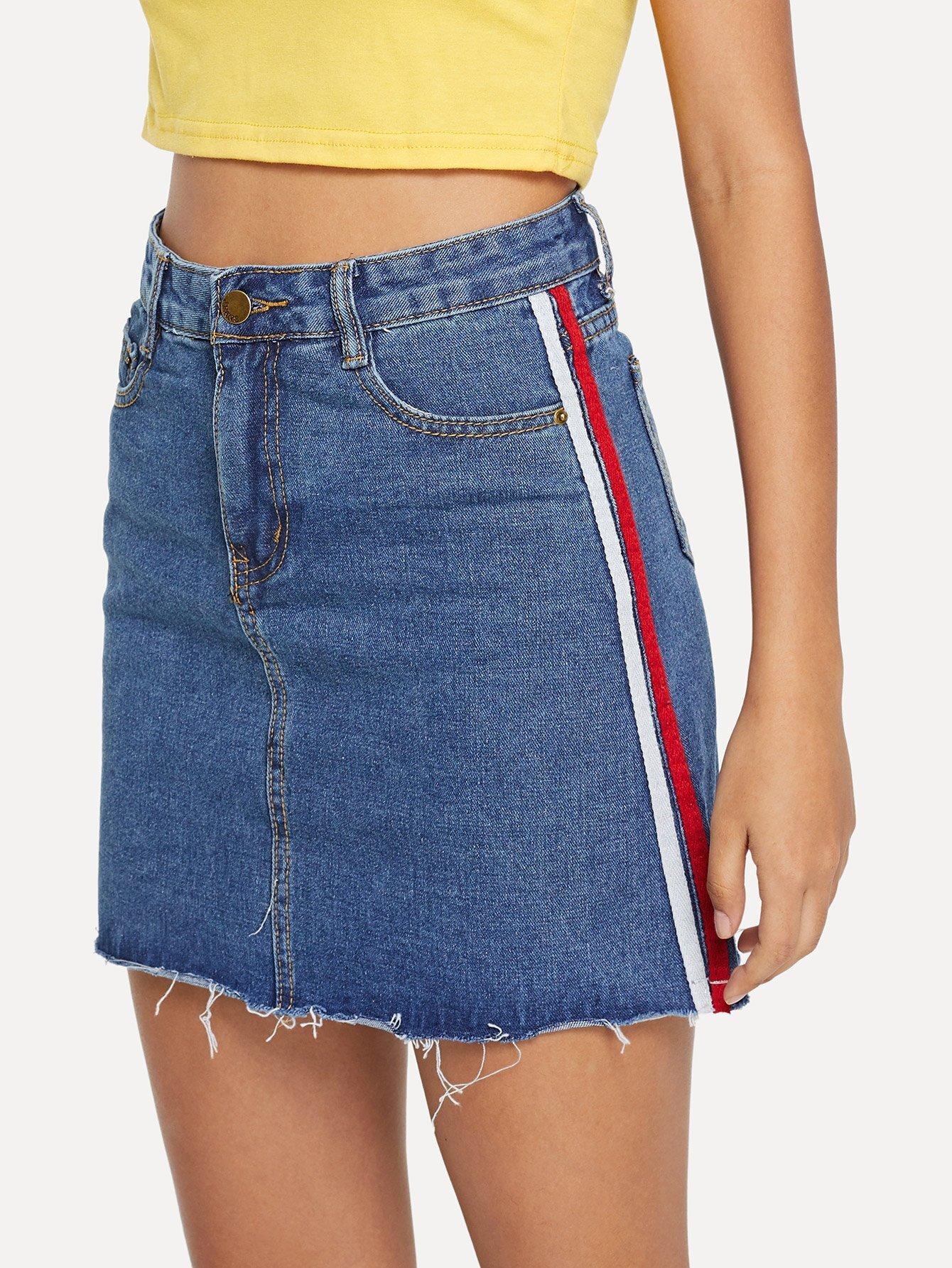 Купить Джинсовая юбка с украшением ленты, Starl Lane, SheIn