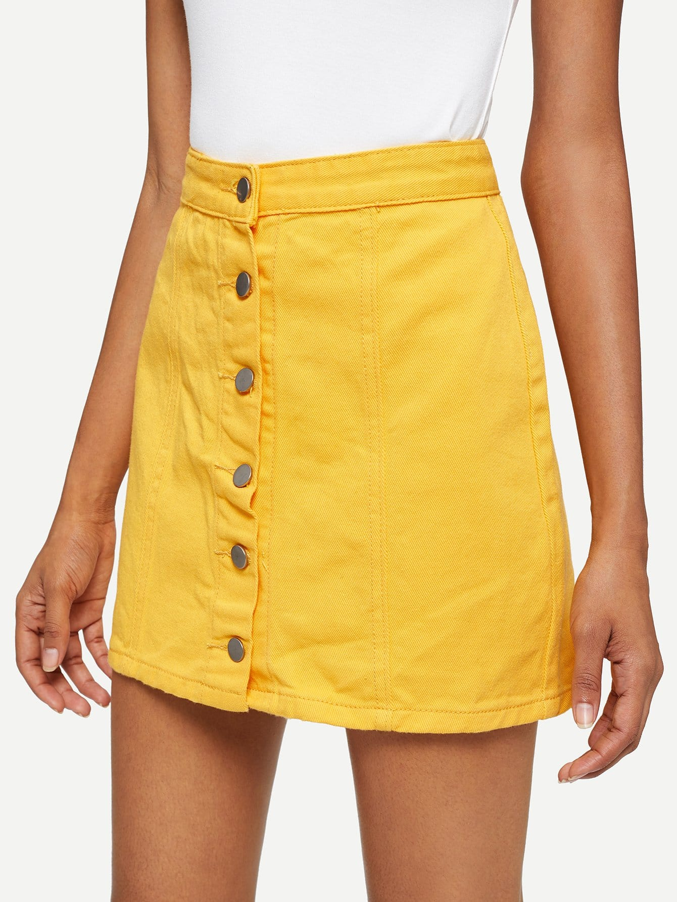 Купить Простая джинсовая юбка и с украшением пуговицы, Victoria, SheIn