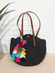 Tassel & Pom Pom Decorated Tote Bag