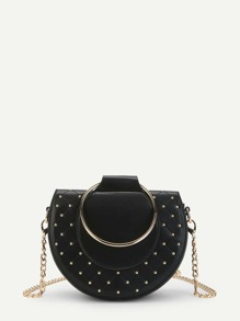 Studded Detail Crossbody Bag With Ring Handle