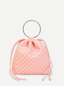 Studded Detail PU Backpack With Convertible Strap