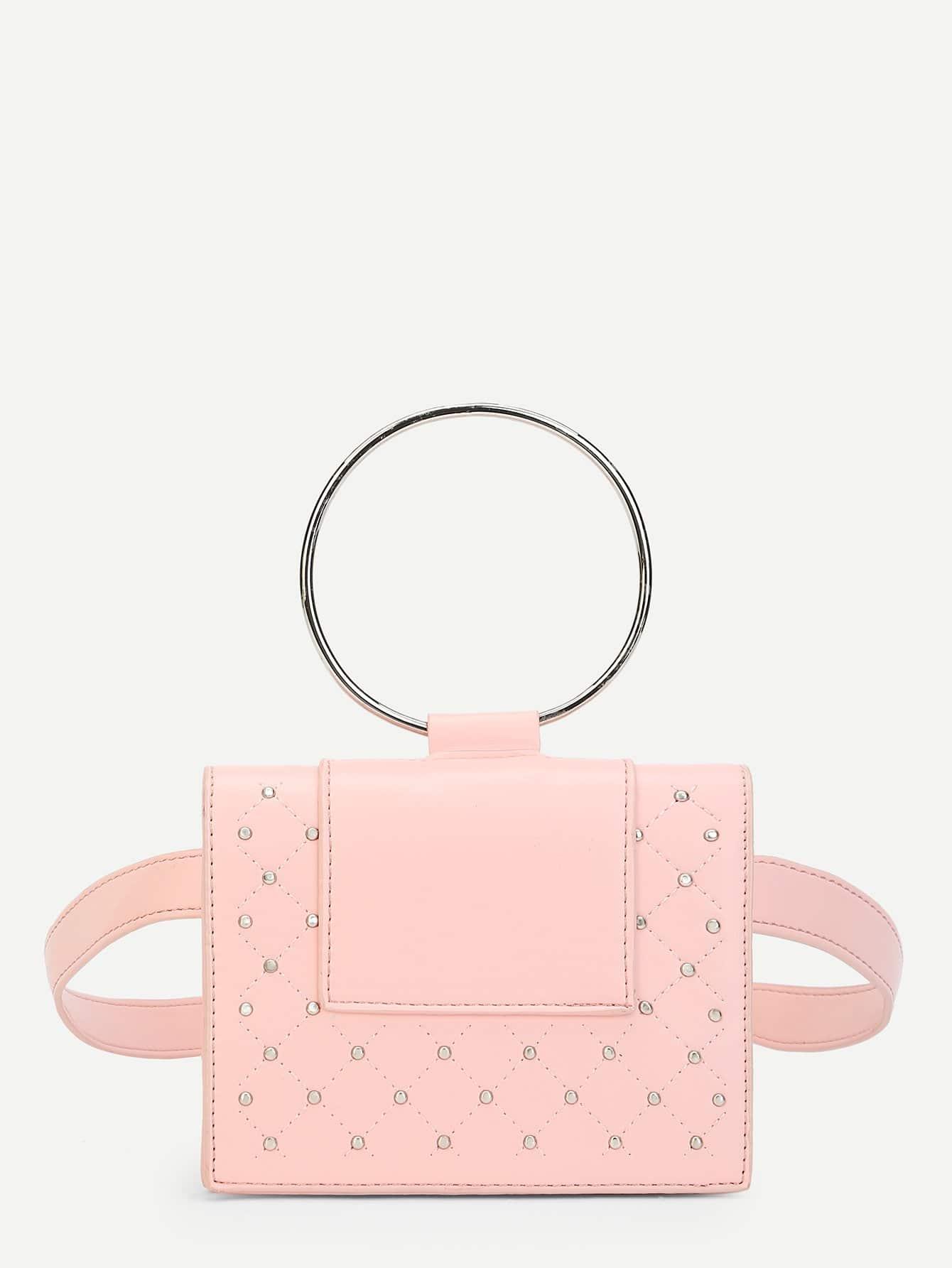 Купить Шипованный Поясные сумки розовый Сумки, null, SheIn