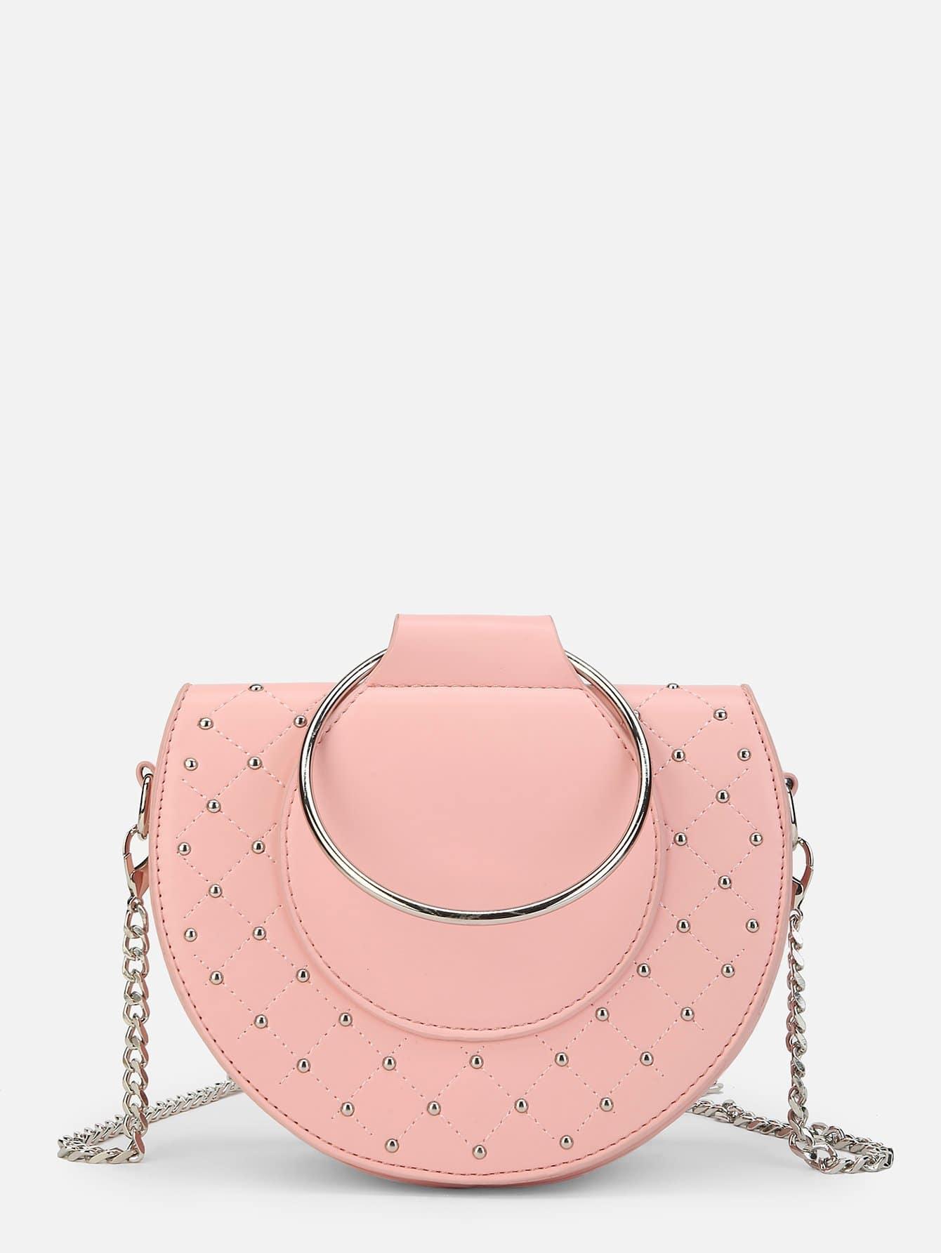 Купить Шипованный Сумкичерезплечо розовый Сумки, null, SheIn
