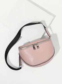 Double Zipper PU Bum Bag